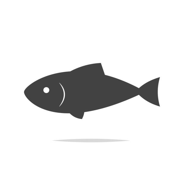 Fish icon vector isolated Vector element seafood stock illustrations