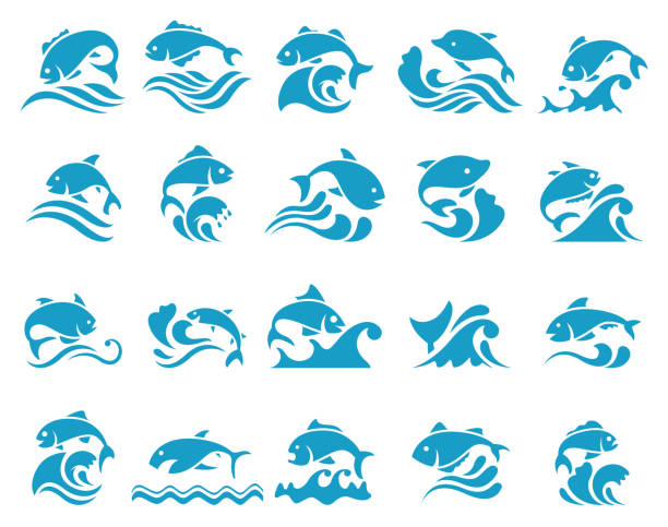 Fish icon with waves Fish icon with waves , vector illustration fish stock illustrations