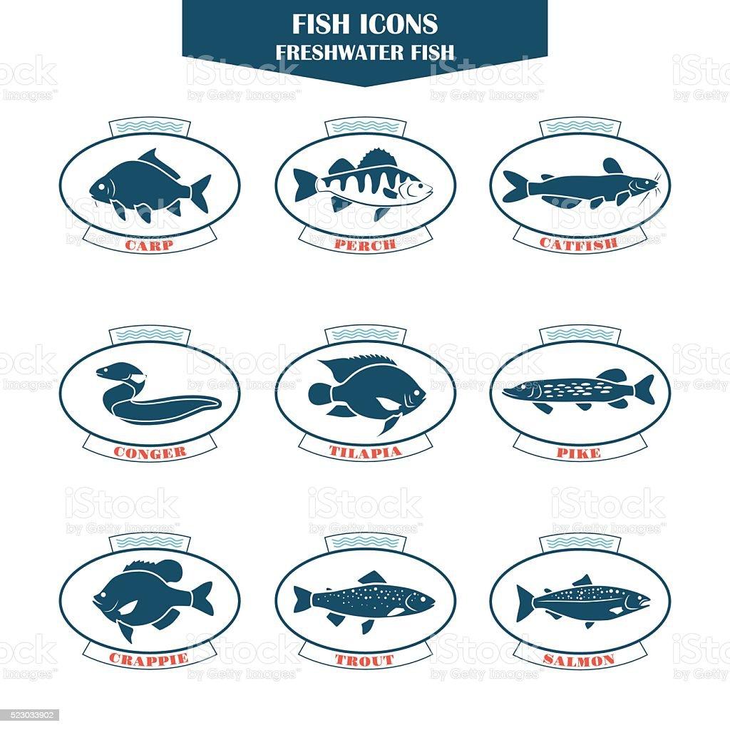 Icônes de vecteur de poissons - Illustration vectorielle