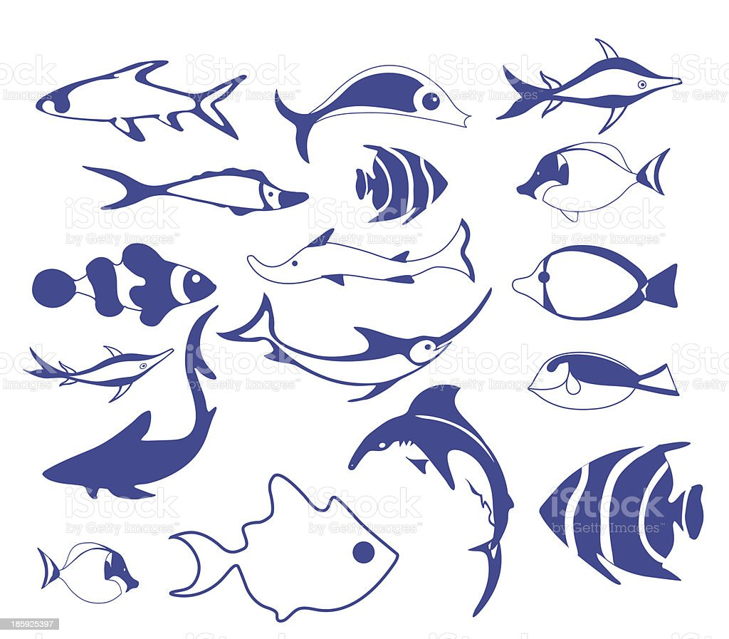 Fish Icons royalty-free stock vector art