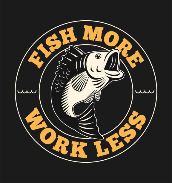 fish illustration with slogan - rybactwo stock illustrations