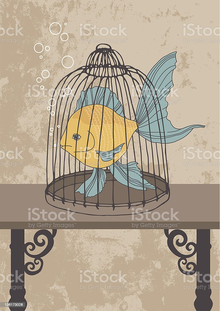 Fish in Cage royalty-free stock vector art