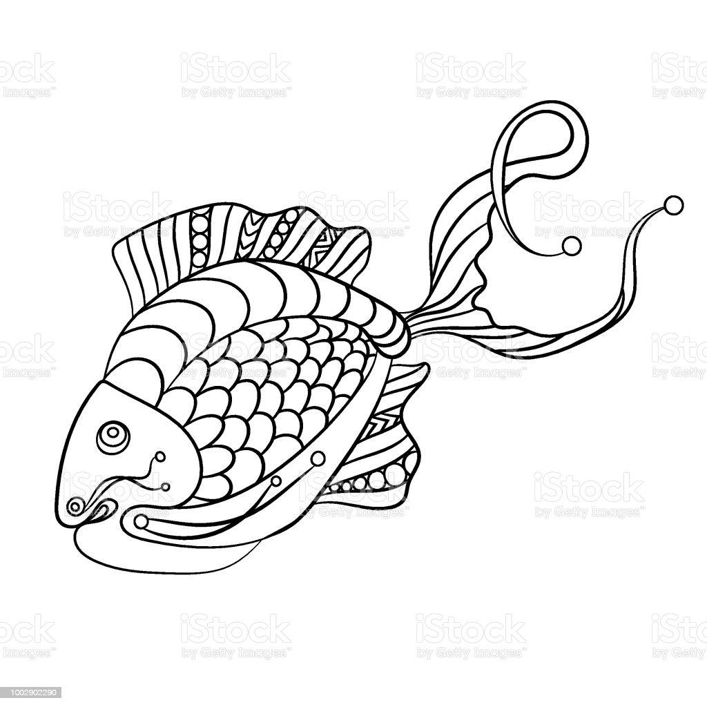 Fisch In Malvorlagen Für Childrean Und Erwachsene In Dekorative ...