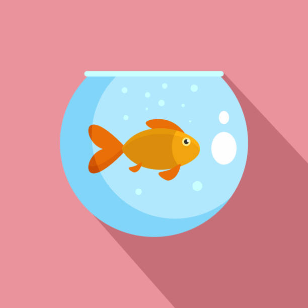 fisch in rundes aquarium symbol, flachen stil - fischglas stock-grafiken, -clipart, -cartoons und -symbole