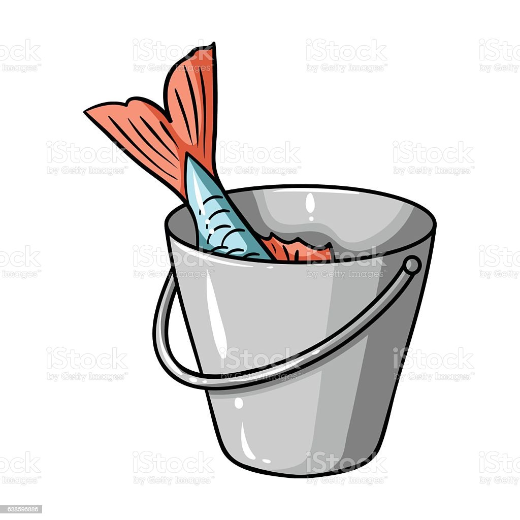 Fish in the bucket icon in cartoon style isolated on stock for Bucket of fish