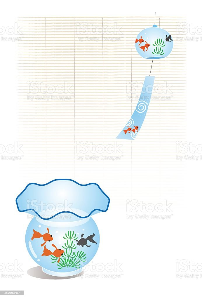 Fish in the fishtank and bamboo bline, wind chime vector art illustration