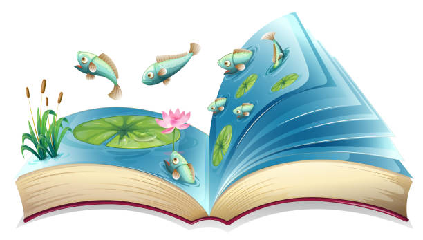 fish in the pond open book - river paper stock illustrations, clip art, cartoons, & icons