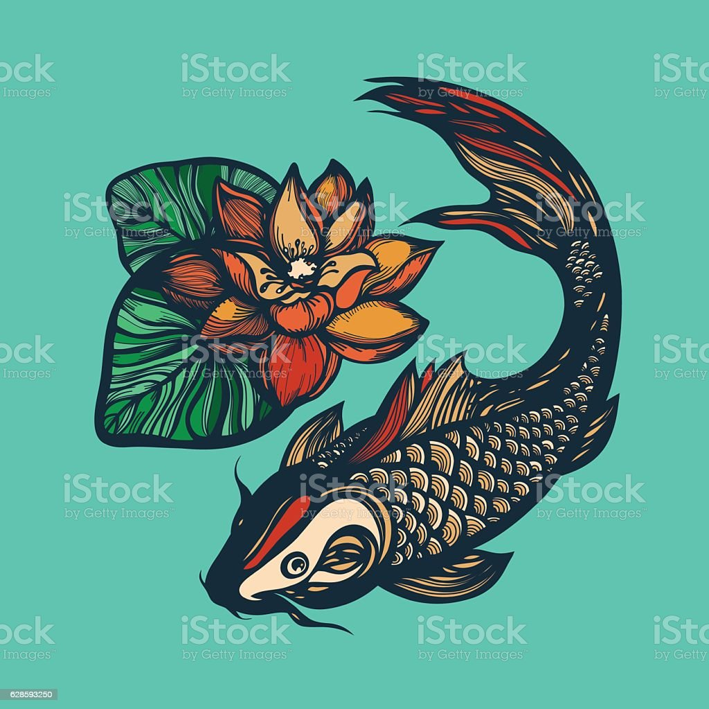Fish Koi And Lotus Flower Stock Vector Art More Images Of Animal