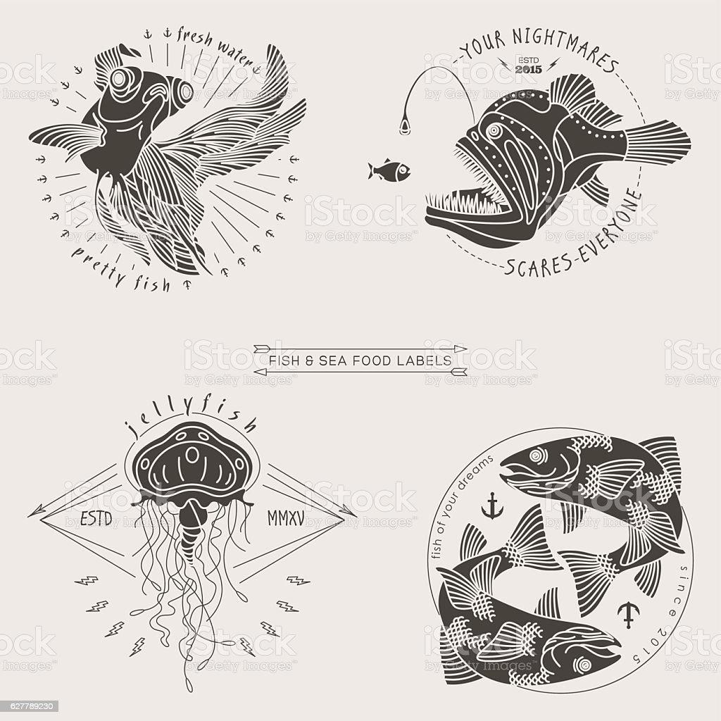 fish labels vector art illustration
