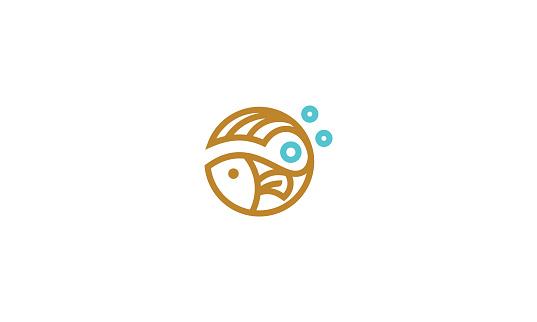 fish line art icon vector