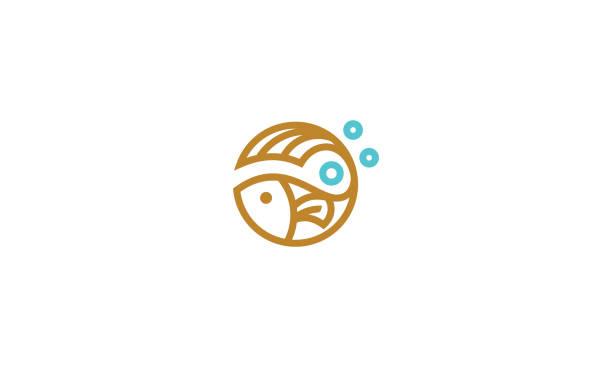 fish line art icon vector - ryba stock illustrations