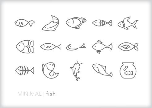 Fish line icons