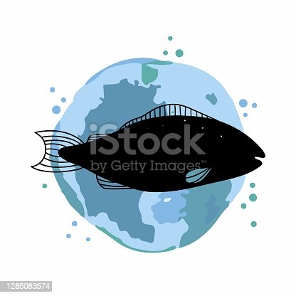 istock Fish logo. Promotional sea food sticker, website banner in blue and black colors, trendy watercolor abstract background and silhouette, discount product emblem, marketing badge vector poster 1285083574