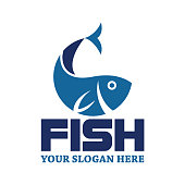 istock fish logo with text space for your slogan / tagline 1005949198