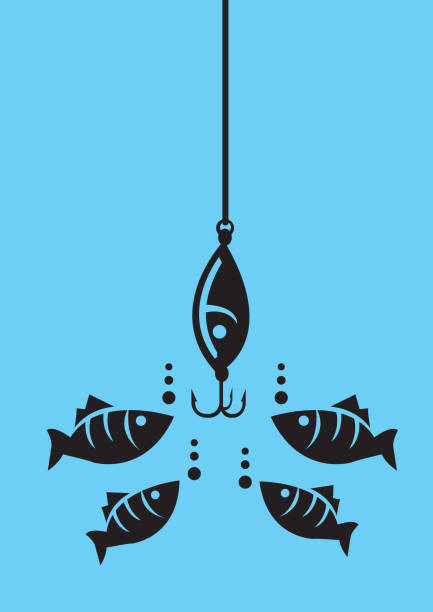 Fish Looking at Fishing Bait with Hooks Drawing of fishes attracted to fishing bait with hooks under water. Minimalist style vector illustration in black isolated on blue background fishing line stock illustrations