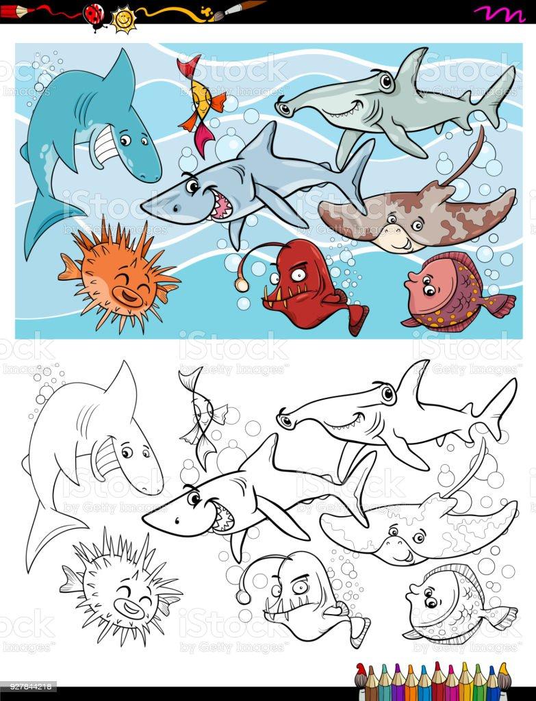 Ilustración de Libro De Color De Grupo De Peces Marino Personajes y ...