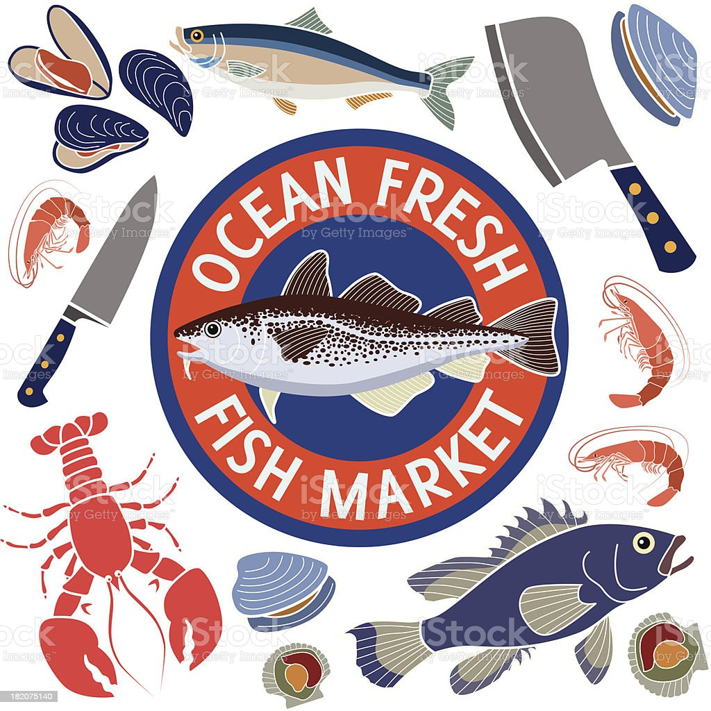 fish market design elements royalty-free stock vector art