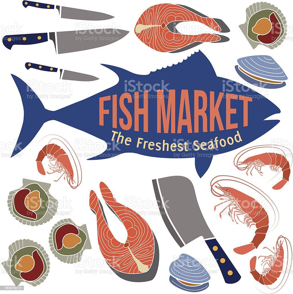 fish market design elements royalty-free stock vector art