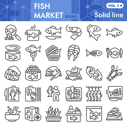 Fish market line icon set, sea food symbols collection or sketches. Fishing industry linear style signs for web and app. Vector graphics isolated on white background.