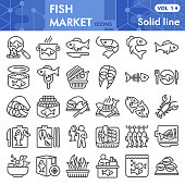 Fish market line icon set, sea food symbols collection or sketches. Fishing industry linear style signs for web and app. Vector graphics isolated on white background