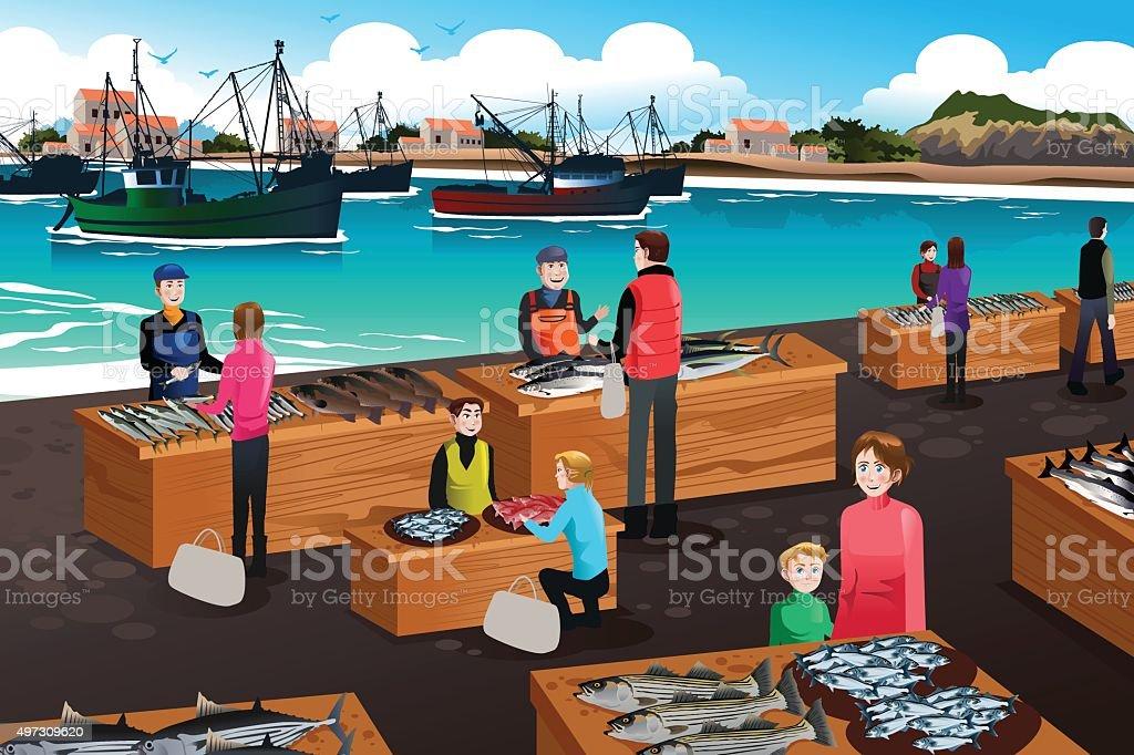 royalty free fish market clip art vector images illustrations rh istockphoto com market clipart png market clip art images