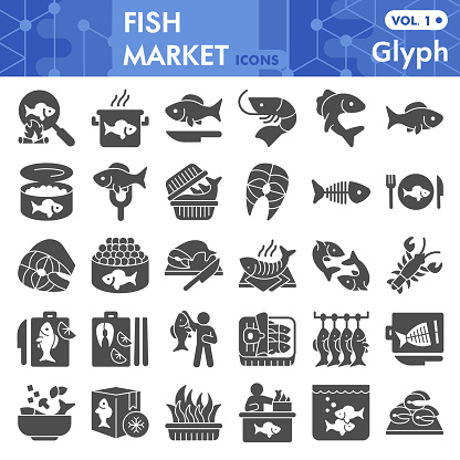 Fish market solid icon set, sea food symbols collection or sketches. Fishing industry glyph style signs for web and app. Vector graphics isolated on white background.