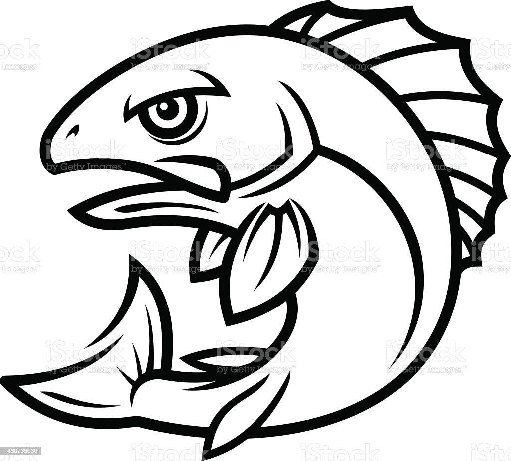 Fish mascot vector art illustration