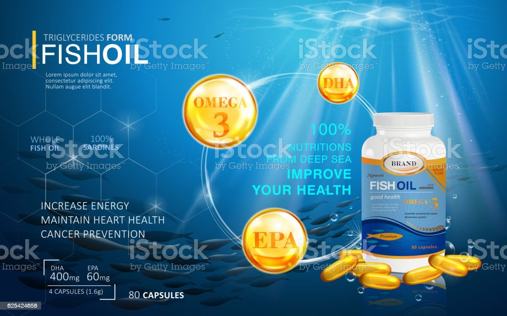 Fish oil ads template vector art illustration