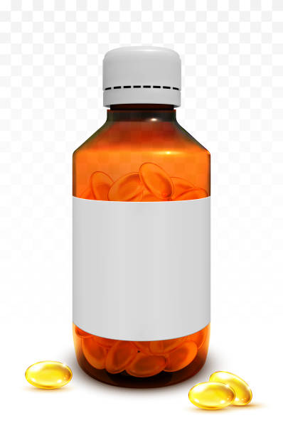 fish oil capsules in a glass bottle - flu shot stock illustrations