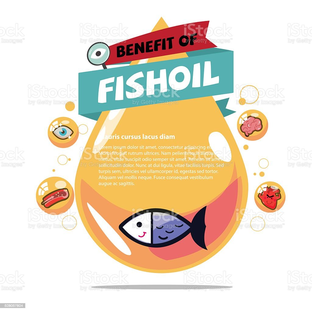 fish oil. Cod liver oil with benefit - vector vector art illustration