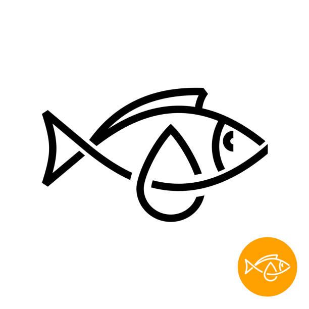 bildbanksillustrationer, clip art samt tecknat material och ikoner med fisk olja ikonen. svart linje stil torsk lever olja sign. - omega 3