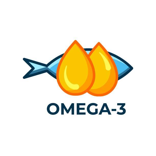 bildbanksillustrationer, clip art samt tecknat material och ikoner med fiskolja ikonen isolerad på vit bakgrund. vitamin omega 3 mall. droppar och fisk silhuett. platt stil. behandling näring hudvård vektor design. - omega 3