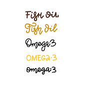 Fish oil, omega 3. Set of Hand drawn vector lettering phrase isolated on the white background. Vector linear trendy illustration.