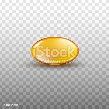 Fish oil or fat soluble vitamin shiny golden capsule 3d realistic vector illustration isolated on transparent background. Nutritional health supplement translucent pill.