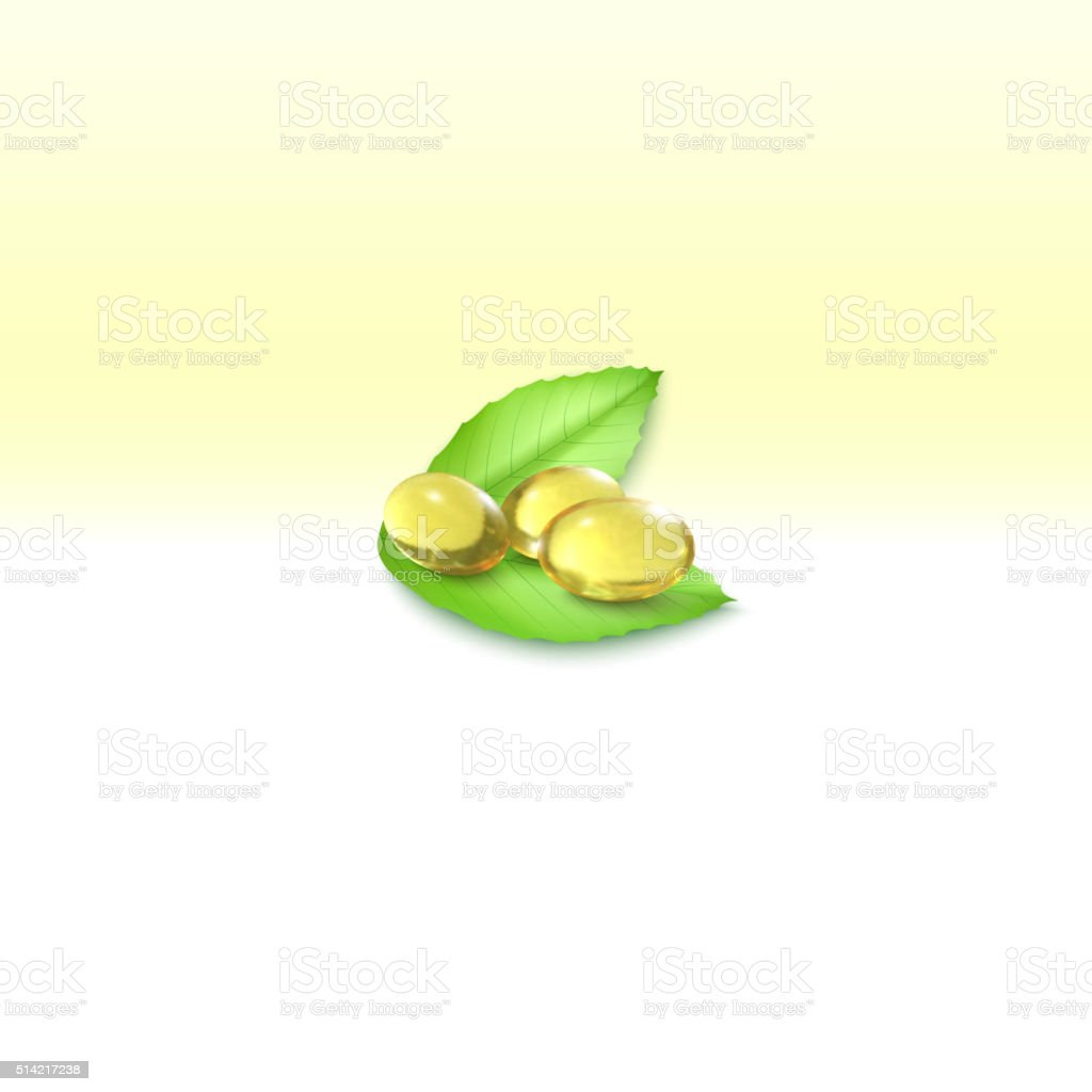 Fish oil, pills isolated on yellow background, vector illustration vector art illustration