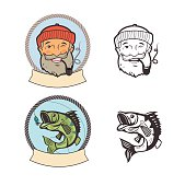 Fishing logo set. Fish on a fishing hook and sailor with pipe. Vector labels.