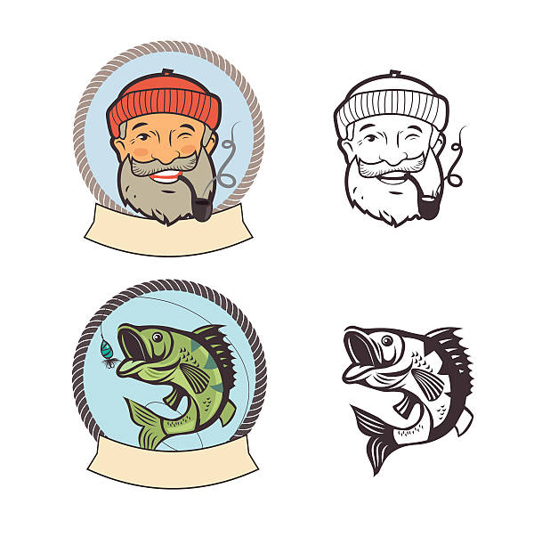 fish on a fishing hook and sailor with pipe. - old man smoking pipe drawing stock illustrations, clip art, cartoons, & icons