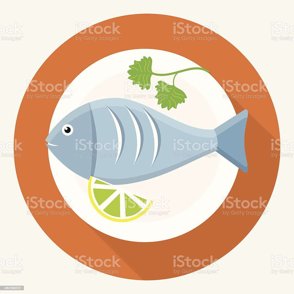Fish on plate vector art illustration