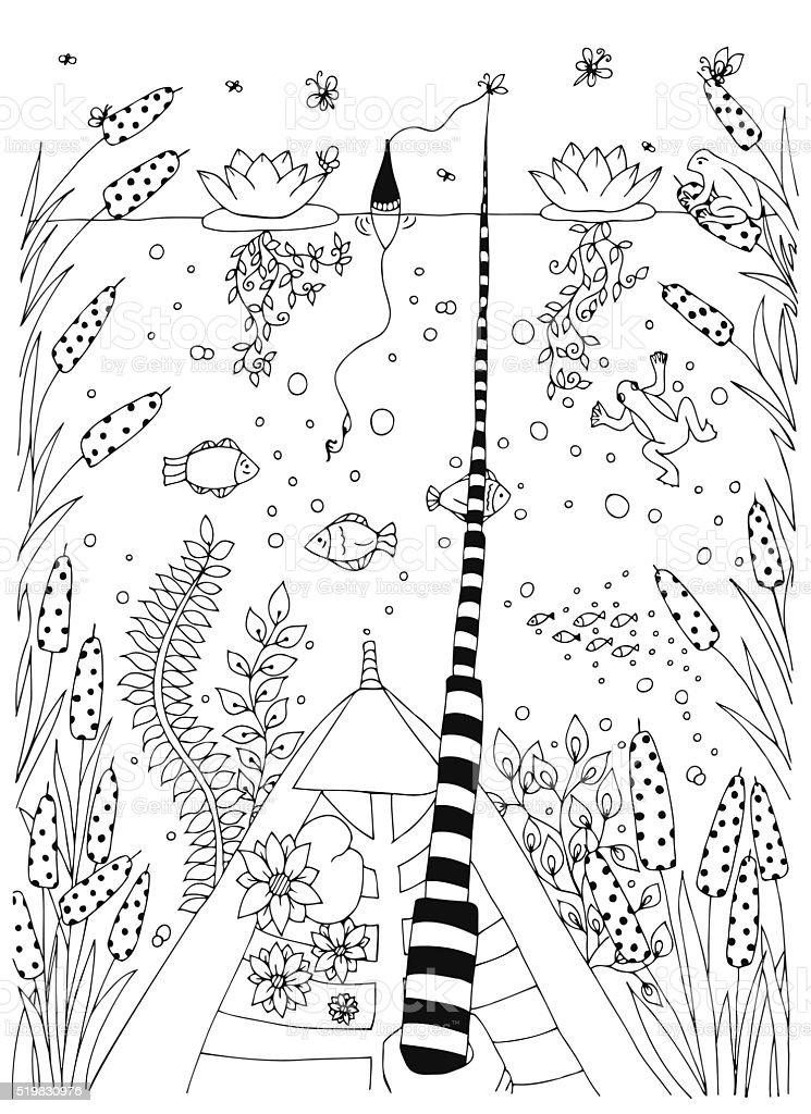 Fisch Dekorative Grafik Fische Blumenmuster Vektor Zentangle Mit ...