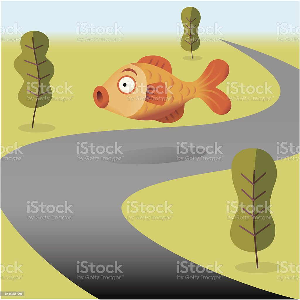 Fish out of Water royalty-free stock vector art