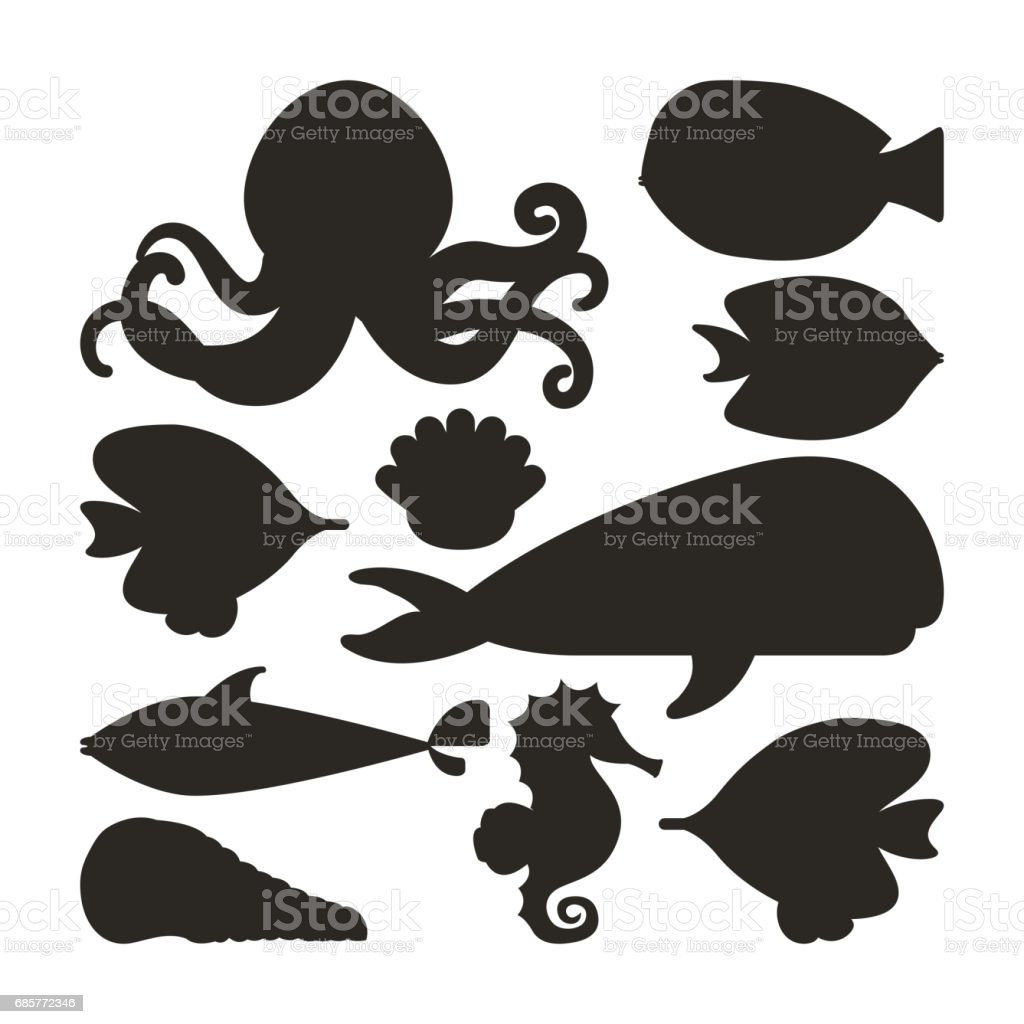 fish oyster octopus whale shell and sea horse icon. Vector graph Lizenzfreies fish oyster octopus whale shell and sea horse icon vector graph stock vektor art und mehr bilder von aquarium - aquarium oder zoo