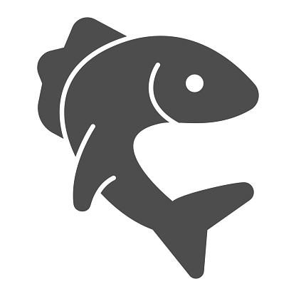 Fish pike solid icon, Fish market concept, Pike fishing emblem on white background, Fish icon in glyph style for mobile concept and web design. Vector graphics.