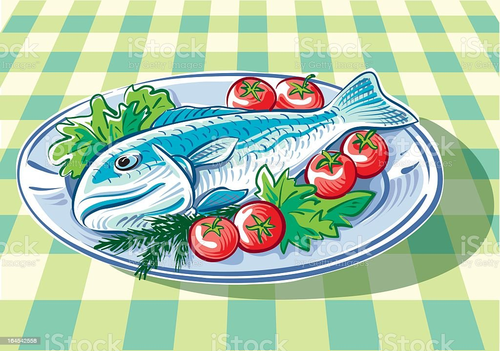 Fish plate royalty-free stock vector art