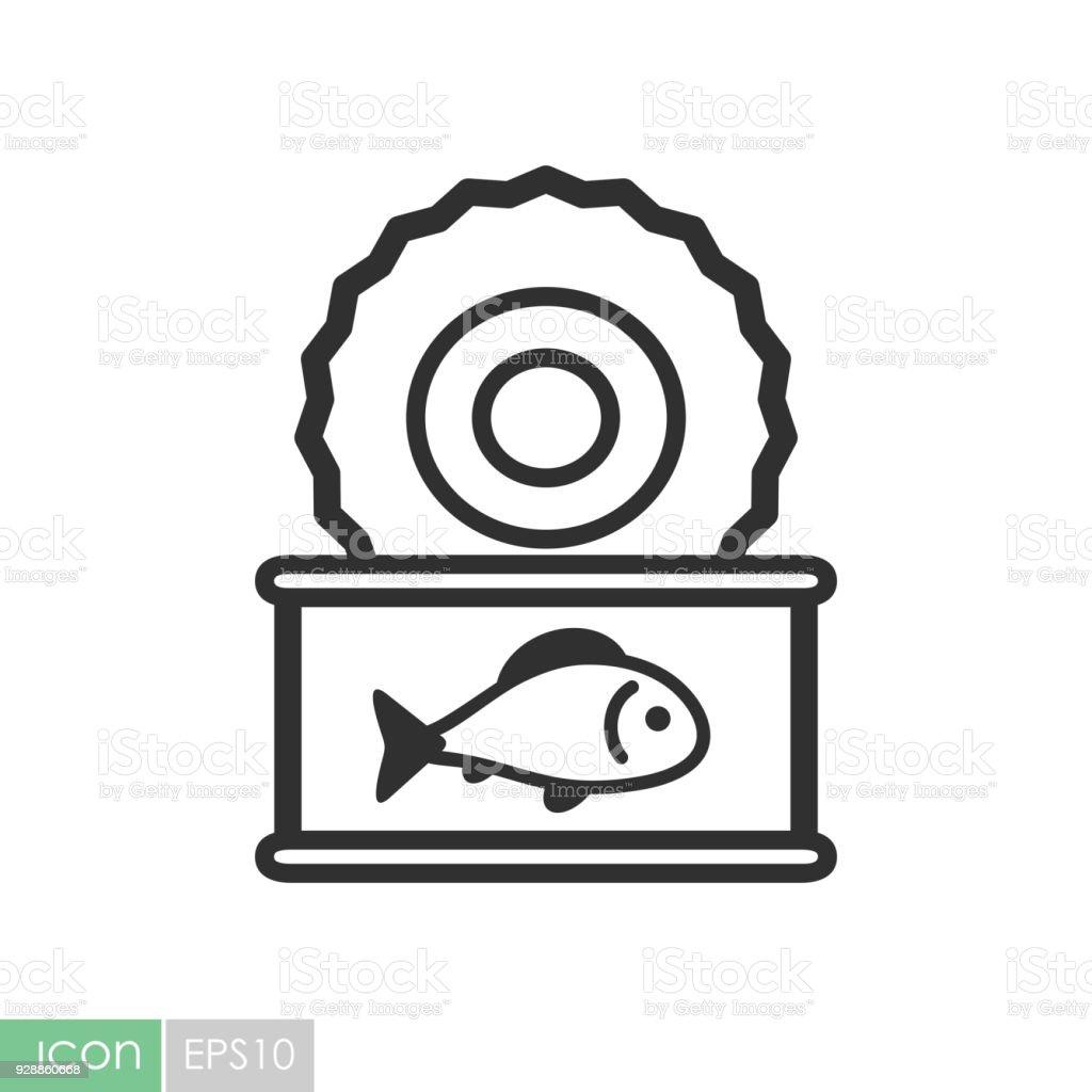 Pescado conserva icono vector - ilustración de arte vectorial