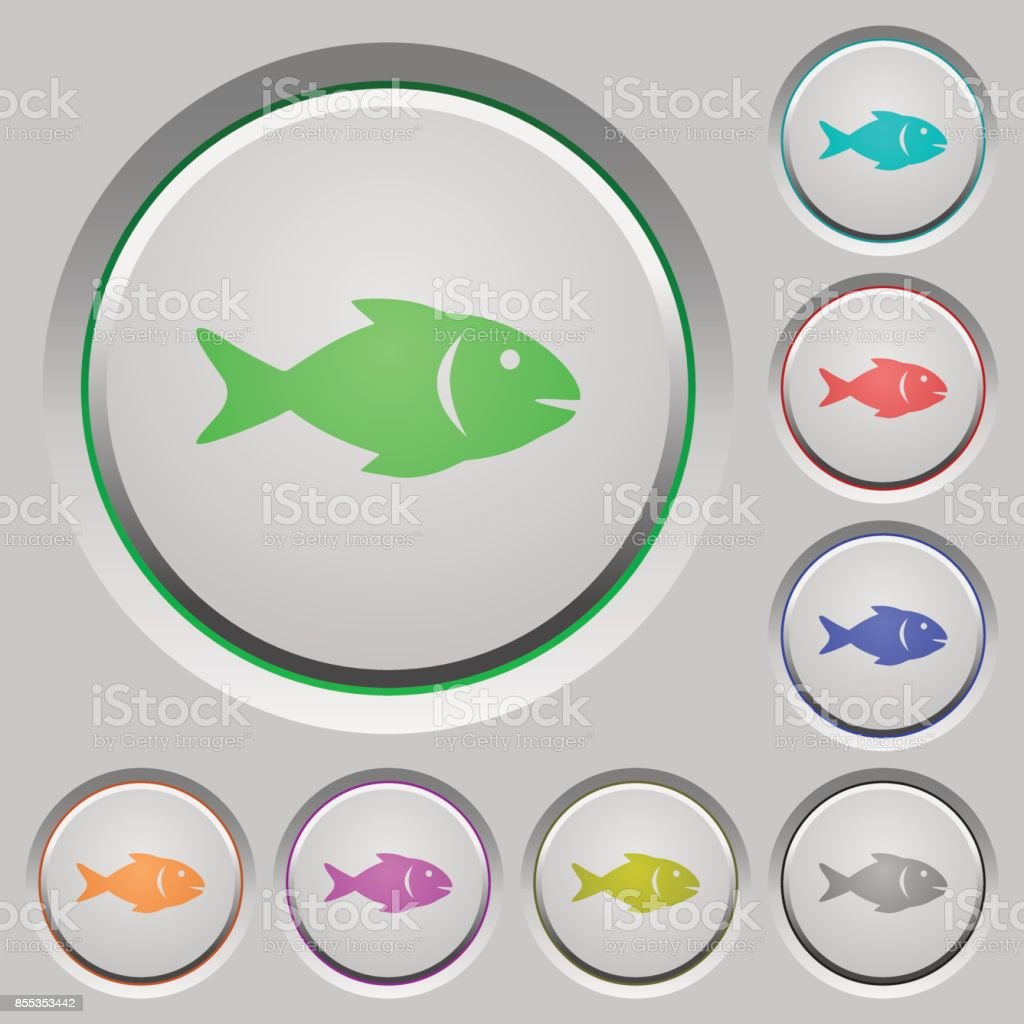 Fish push buttons vector art illustration