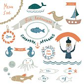 Fish restaurant invitation or menu elements - funny design, vector illustrations