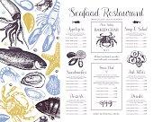 Vintage seafood illustration.Vector fish menu template. Hand drawn sea food sketch collection. Decorative fish background.