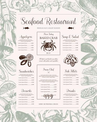 Fish restaurant menu design.