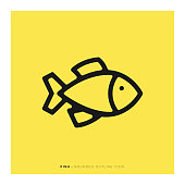 Fish Rounded Line Icon