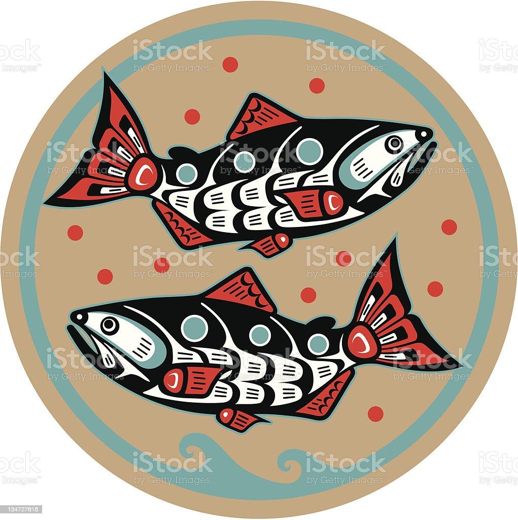 Fish - Salmon in Native American Style Vector vector art illustration